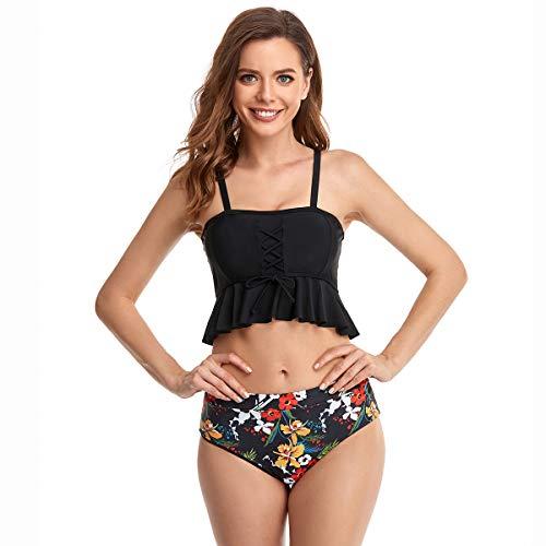 WangsCanis Due Pezzi Costume da Bagno Madre e Figlia Famiglia Bikini Bush Up Stampa Floreale Top Inbottito+Bikini Perizoma Elgente Mare Spiaggia (Nero-Adulto, XL)