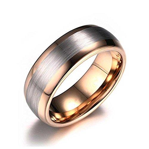 LAMUCH Herren Damen 8MM breiter Pull Sand Rose Gold Wolfram Stahl Ring Größe59 (18.8)