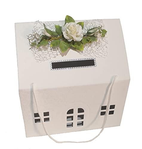 PuntoCasaStore Scatola Porta Buste Matrimonio Nozze CASETTA Bianca 33X25X35 CM con Foro X Buste