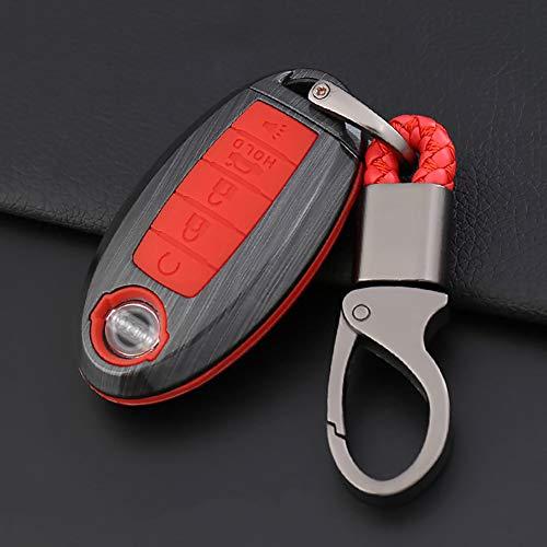 ontto Autoschlüssel Hülle Cover für Nissan Rouge Murano Maxima Altima Sentra Pathfinder Qashqai 2016-2019 Kunststoff Schutzhülle Schlüsselschutz Schlüsselanhänger 5 Tasten (red +Wire Drawing Black)