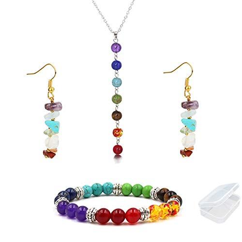 PPX 4 Piezas Collar, Aretes y Pulsera de 7 Chakras con Caja Transparente, Colgante con Piedra de...