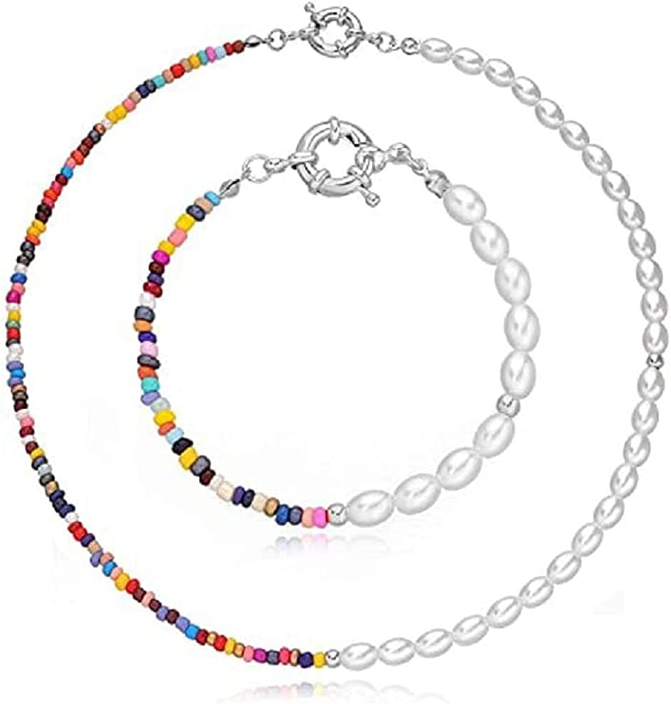 2 Pcs Set Pearl Beaded Necklace Boho Colorful Bracelet with Necklace Set Bohemian Beaded Necklaces Y2K Necklace Hand Made Pearl Choker for Women Girls