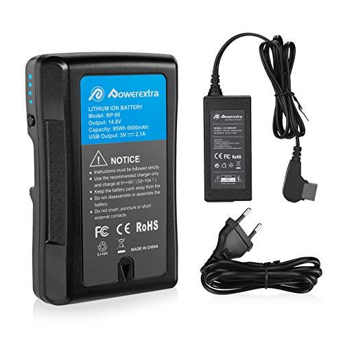 Powerextra D-Tap Ladegerät Netzteil für V-Mount Akkus und 1 Stück V-Mount Ersatzakku für Sony BP-95W mit 6600mAh und 95Wh