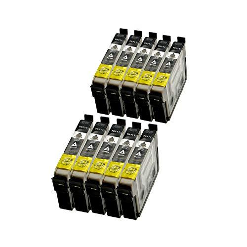 10Cartuchos Para Epson C13T07114011Black–negro por 14ml, compatible con T0711
