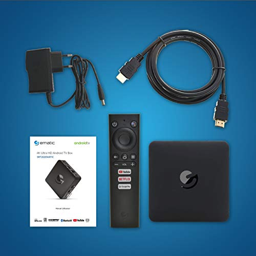 ematic SRT202 Ultra-HD 4K Android-TV Box, inklusive HDMI-Kabel [Google Playstore, Netflix, Disney+, Youtube, HDR10, USB, LAN, WLAN, Bluetooth]