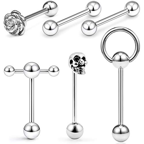 SCERRING 6PCS 14G Stainless Steel Rose Skull Door Lock Tongue Teaser Double Barbell with Slave Ring Nippleings Ring Body Piercing Jewelry Silver