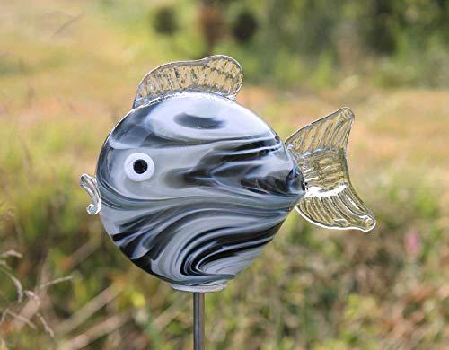 HFG Edler Gartenstecker Kleiner Kugelfisch mit Stab Smoke Glas handgefertigt Gartenstele