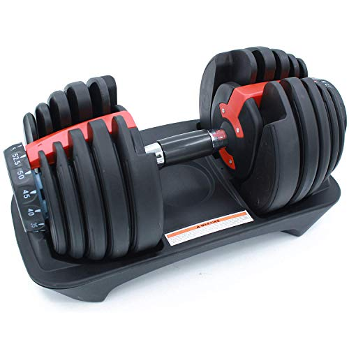 Adjustable Dumbbell 52.5 lbs Weights for Gym Home Adjustable Dial Dumbbell with Handle and Weight Plate for Man and Woman Body Workout (Single)