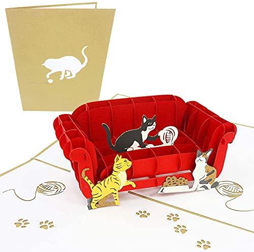 PopLife Cards I gatti che giocano sul divano pop-up biglietto di auguri