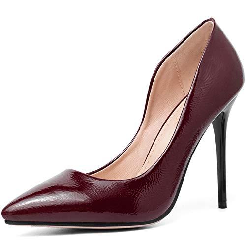 Zapatos De Tacón Charol Puntiagudo Boca Baja Estilete Zapatos Individuales para Mujer para Fiestas Baile Vida Diaria (34-43),3,41