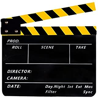 Acrylic Clapboard Dry Erase Director Film Movie Cut/Action Clapper Board Slate with Yellow/Black Sticks 9.6 11.7