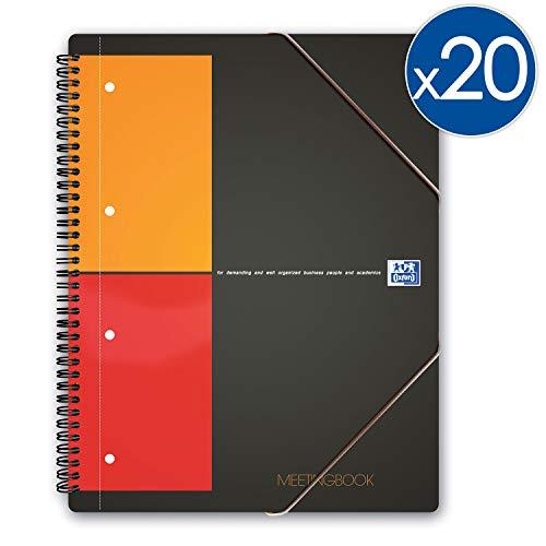 Oxford Schulhefte International Meetingbook A4 + kleine karierte 5 mm 160 Seiten, Einband aus Polypropylen, Grau, 20 Stück
