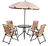 Outsunny Garden Patio Textilene Folding <span class='highlight'>Chairs</span> Plus Table and Parasol Furniture Bistro Set - Beige (6-Piece)