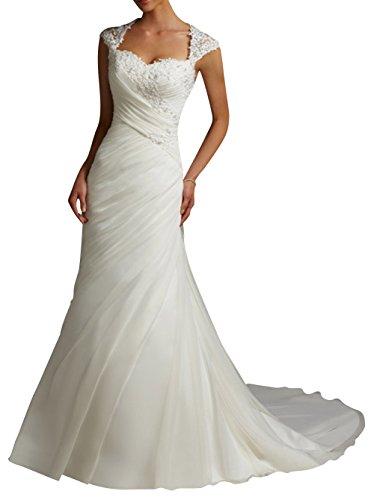 Vestido de novia para mujer, con encaje, de DAPENE® Blanco blanco 48