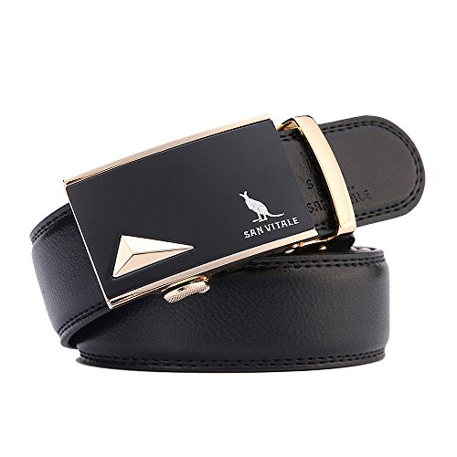 El Cinturón de Cuero de Vacuno de Caballero de SAN VITALE con Hebilla Casual Reversible de Engranaje Automático para Pantalón Vaquero 35mm de anchura 1 3/8' Hebilla Dorada Dimensión de Más (29-39')