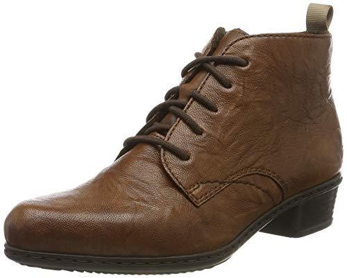 Rieker Damen Stiefeletten, Frauen Schnürstiefelette, Boot kurz-Stiefel schnür-Bootie übergangsschuh,Braun(Cuoio),38 EU / 5 UK