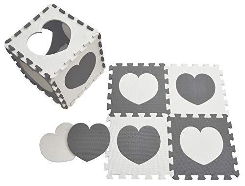 Happykiddoos Puzzlespielmatte 10 Foam Matte. Spielmatte Schaumstoff Verriegelung Puzzle Kinderteppich. Jede Matte hat eine Größe von 30x30cm und ist 1 cm dick (Herz, Grau/weiß)