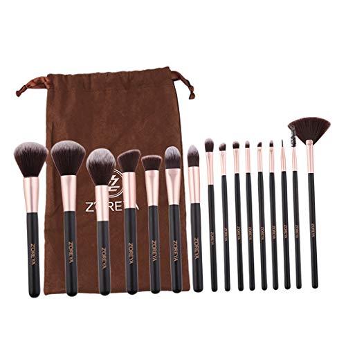 MERIGLARE 16 Pcs/Ensemble Professionnel Pinceaux De Maquillage Cosmétiques Pinceaux De Fondation Avec Sac
