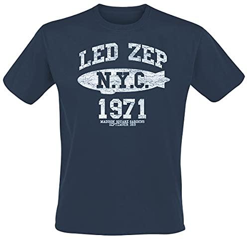 Led Zeppelin NYC 1971 Hombre Camiseta Azul M, 100% algodón, Regular
