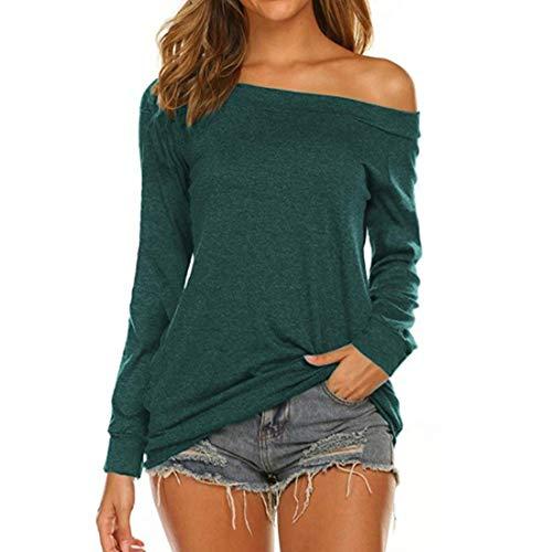 Damen Tops Sexy Off Shoulder Bluse Frauen Langarmhemd Casual Loose Sweatshirt Bluse...