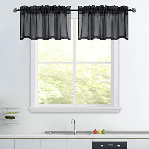 52x18 2 Panels Black Sheer Valance 18 Inches Long for Kitchen Windows Treatment Faux Linen Sheer Window Toppers Valances Semi Sheer Half Window Curtain Valance for Bedroom Small Window Cafe Curtains