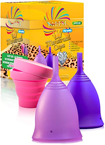 Talisi Menstrual Cups - Reusable Menstruation Period Cup for Women With Collapsible Sterilization Menstrual Cup for Beginners - Feminine Hygiene Products Alternative to Tampon - Regular and Heavy Flow