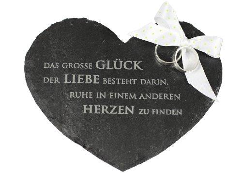 condecoro Ringkissen Herz aus Schiefer Das grosse Glück der Liebe... Ehering Kissen Kirche Standesamt Hochzeit