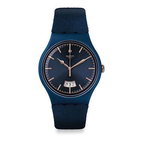 Swatch Unisex Erwachsene Analog Quarz Uhr mit Stoff Armband SUON400