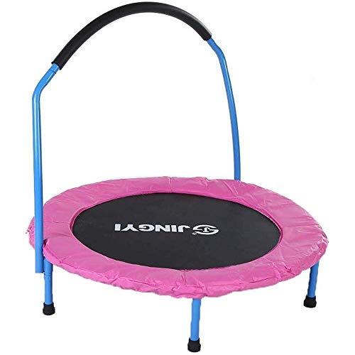 KAIGE Trampolini Indoor trampolini da 36 Pollici for i Bambini Pieghevole con Maniglia |Stabile Struttura Triangolare, Anti-ribaltamento | for Trampolino 3-6 Anni for Bambini WKY (Color : Pink)