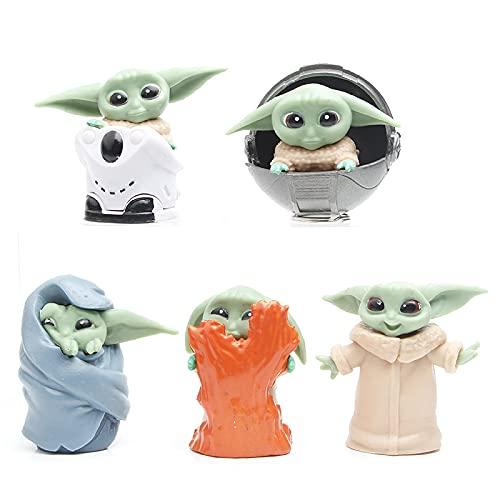 CYSJ Baby Yoda Toy 5pcs Adornos de Star Wars Decoración de Pasteles...
