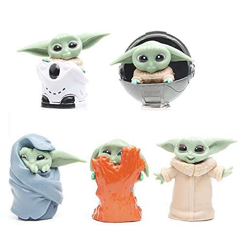 CYSJ Baby Yoda Toy 5pcs Adornos de Star Wars Decoración de Pasteles Mini Yoda Mandalorian Collection Figura de acción Star Wars Navidad Regalo para niños Decoración de Escritorio