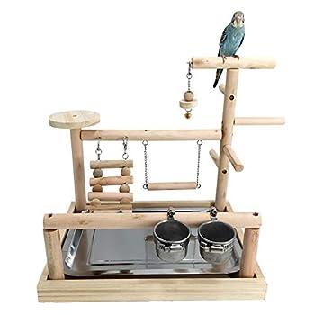 JOMSK Perroquets PlayStand Parrot Bois Aire de Jeux Aire de Jeux de Stand Black Wind Peau de Tigre Formation Support Pivoine Swing Anklet Oiseaux (Color : Multi-Colored, Size : A)
