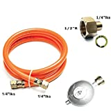 NJ Gasschlauch Druckminderer Set 150cm/ 50mbar + Phönix PH-A12.14 Übergang 1/2' R x 1/4' lks LPG Adapter aus Kupfer für Gaskocher BBQ Camping