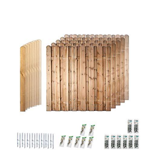 """Sichtschutz Garten-Zaun \""""Frankfurt\"""" (180 x 180 cm) Komplett-Paket // 7 Zaunelemente // ca. 13,3 lfd. Meter // aus Kiefer/Fichte Holz // + 8 ZaunPfosten (9 x 9 x 190 cm) mit Rundkopf + Montagematerial"""