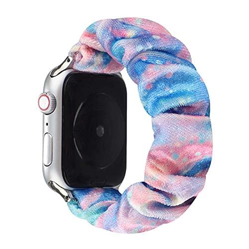 YONGCHY Correa de Apple Watch Floral para iwatch 44 mm 42 mm, patrón de Pulsera de Tela elástica Suave Correa de Tela elástica Impresa para iWatch Serie SE 6 5 4 3 2 1,3,38MM