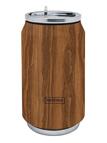 NERTHUS FIH 788 Lata Isotérmica Doble Pared Color Madera 330ml, Acero Inoxidable, Junta Silicona, Libre de BPA, 18/8, 330 ML
