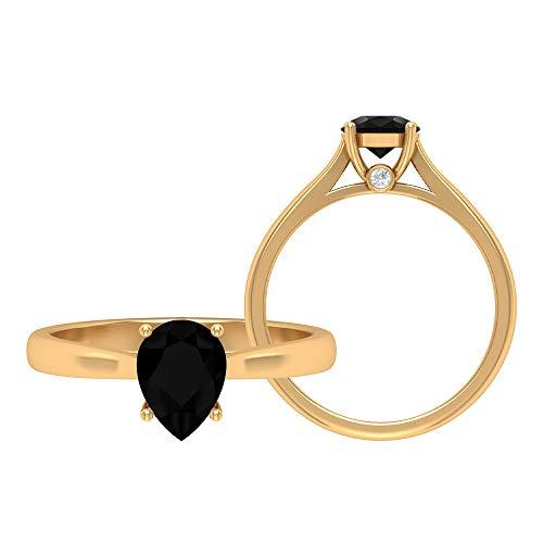 Rosec Jewels - Anillo de diamante negro en forma de pera de 6 x 8 mm, 1 ct creado en laboratorio, anillo de compromiso de diamante negro, 14K Oro amarillo, Size:EU 61