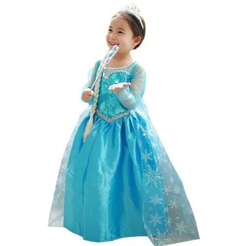 (T100) Tout Bleu Tenue Look Princesse Elsa Anna La Reine des Neiges Enfant 2 à 12 Ans Anniversaire Fête (T100 - 2/3 Ans - 95/105cm)
