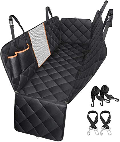 Dog Car Seat Cover, TOPELEK Large Back Pet Car Seat Protectors with Mesh Viewing Window, 2 Seat Belt, Storage Pocket,...