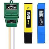 Timagebreze Medidor de PH, Medidor de TDS PPM, Probador de PH del Suelo, Kit Digital de PH/EC, Medidor de PH Combinado de Probador de Suelo para Plantas de JardíN