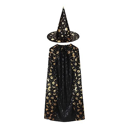 Gobesty Disfraz de mago para Halloween, capa de bruja con sombrero, para nios y nias, color negro