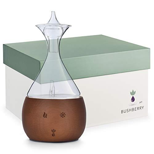 Bushberry Aromatherapie Raumduft Diffuser aus Mahagoni holtz und Glas - Wasserloser Vernebler - Für Ätherische Öle – Frei von Kunst- und Gifstoffen kontakt – Stilvoller Aroma Diffuser.