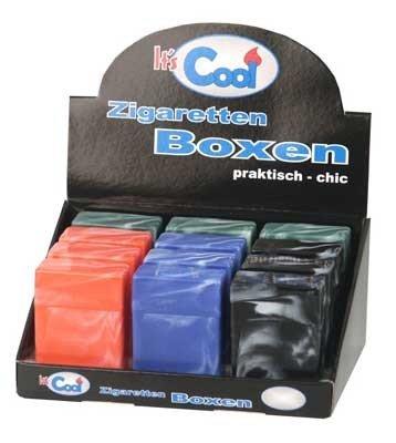 1 x Kunststoff Zigarettenbox mit Steg, Farbauswahl:Rot marmoriert