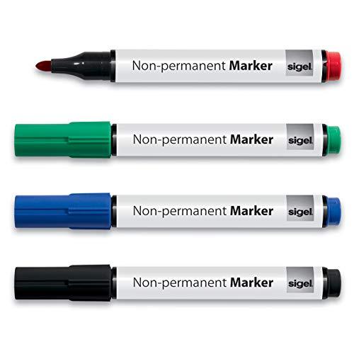 SIGEL MU180 Whiteboard-Marker für Meet up und Artverum Boards, non-permanent, farblich sortiert (schwarz, rot, blau, grün), gute Deckkraft, trocken und feucht abwischbar, Rundspitze 1-3 mm, 4 Stück