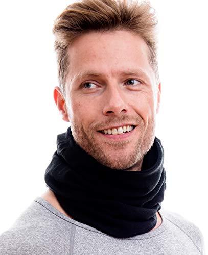 Hilltop Polar Multifunktionstuch/Motorradmaske/Skimaske/Kälteschutz/Gesichtsmaske/Halswärmer/Polar Halstuch mit Kordelzug 100% Fleece, Design/Farbe:schwarz doppellagig