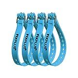 Fixplus Strap paquete de 4 - correa de sujeción para asegurar, sujetar, agrupar y trincar, a base de material plástico especial con hebilla de aluminio 46cm x 2,4cm (azul)