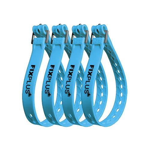 Fixplus Strap 4er-Pack - Zurrgurt Zum Sichern, Befestigen, Bündeln und Festzurren, aus Spezialkunststoff mit Aluminiumschnalle 46cm x 2,4cm (blau)