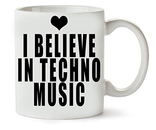 MugsWorld I Believe In Techno Music Heart Fashioned klassieke theekopje koffiemok