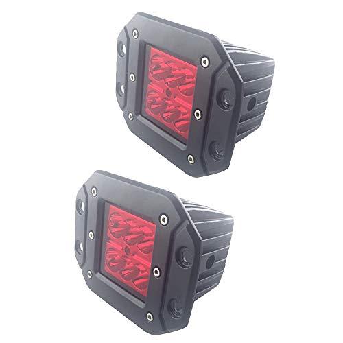 HEHEMM 18W 1800 Lumen Offroad Scheinwerfer Driving Nebelscheinwerfer Stoßstange Arbeitslicht Bootsanhänger Fahrzeug Driving Lighting für Autos LKW Anhänger ATV SUV Jeep 2 STÜCK (Roter Scheinwerfer)