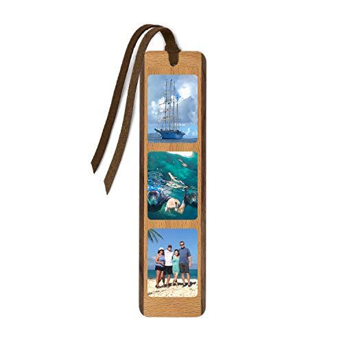 Custom Printed Handmade Wooden Bookmark with Suede Tassel - 3 Vertical Images